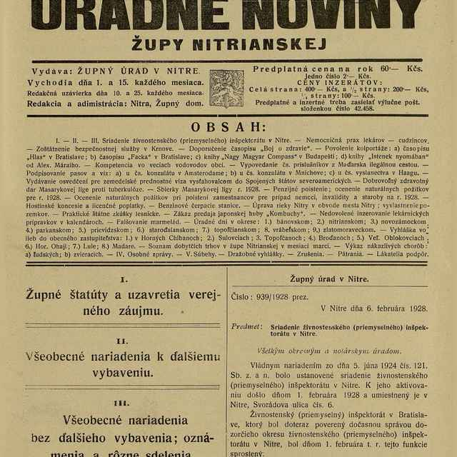 Úradné Noviny župy Nitrianskej