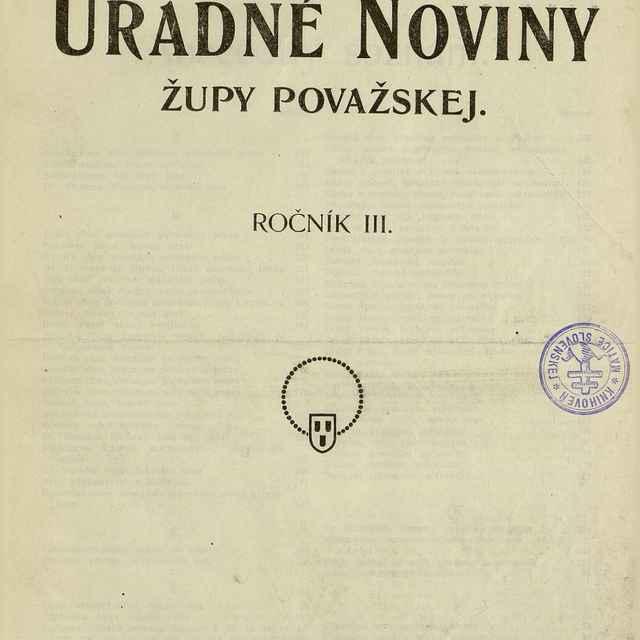 Úradné noviny župy Považskej