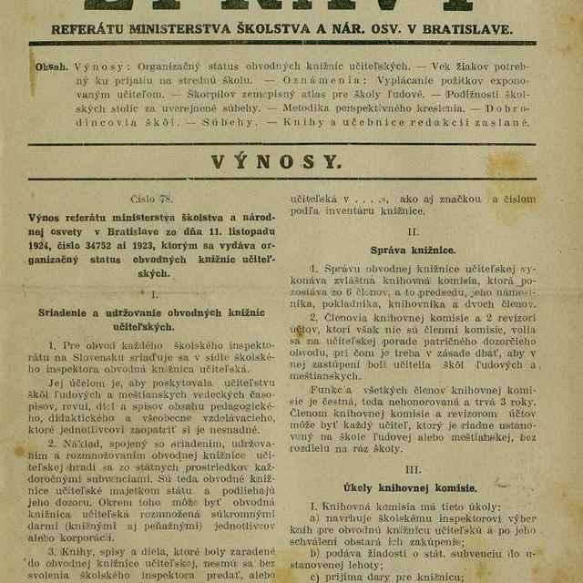 Zprávy referátu ministerstva školstva a nár. osvety v Bratislave