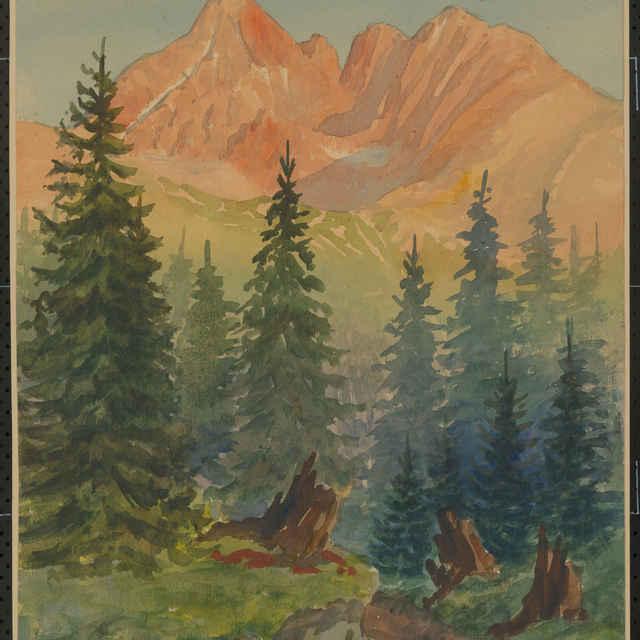 Emil Klein: Lomnický štít. Akvarel - Klein, Emil