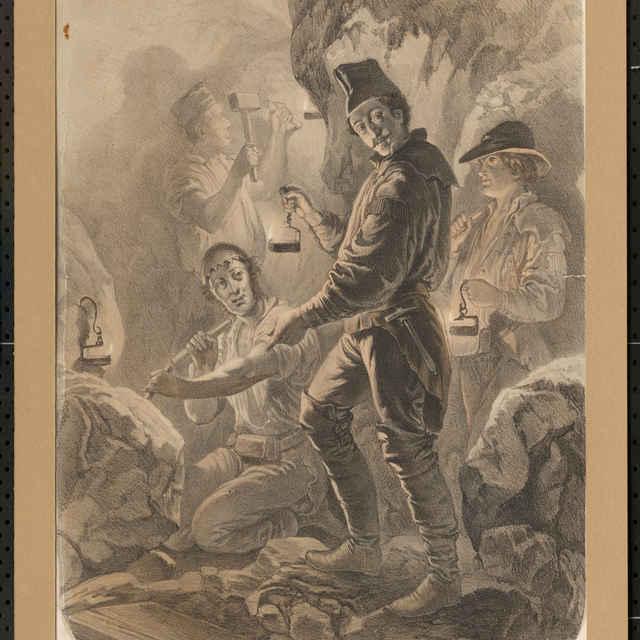 Grafický list, Baníci v práci, tlač: F. Kollarž, perokresba, polovica 19. storočia - neznámy (osobné meno)