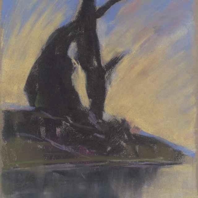 Čierne siluety topoľov pri potoku - Palugyay, Zolo