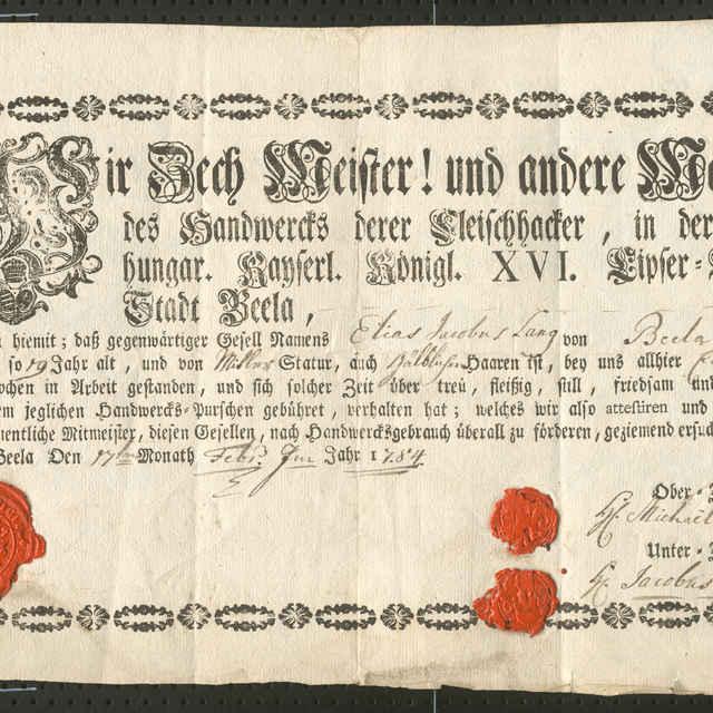 Tovarišské vysvedčenie mäsiarskeho cechu v Spišskej Belej z roku 1784