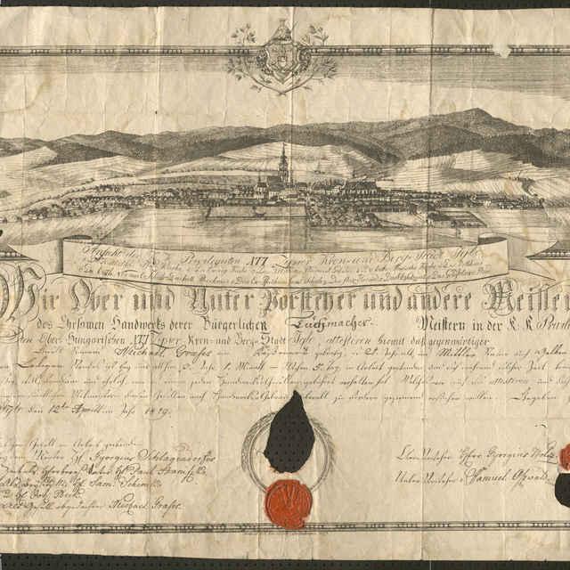 Tovarišské vysvedčenie súkenníckeho cechu v Spišskej Novej Vsi z roku 1819