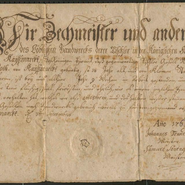 Tovarišské vysvedčenie cechu stolárov v Kežmarku z roku 1769
