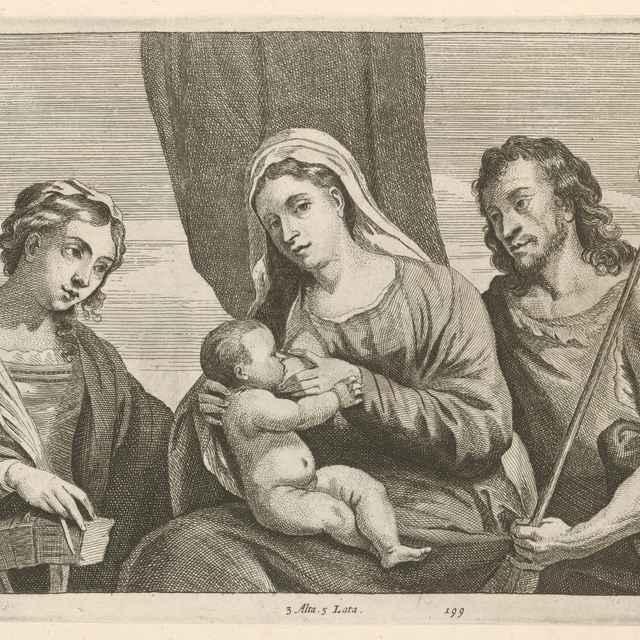 Dojčiaca Madona s Jánom Krstiteľom a svätou Katarínou - sacra conversatione - Palma, Jacopo, il giovane