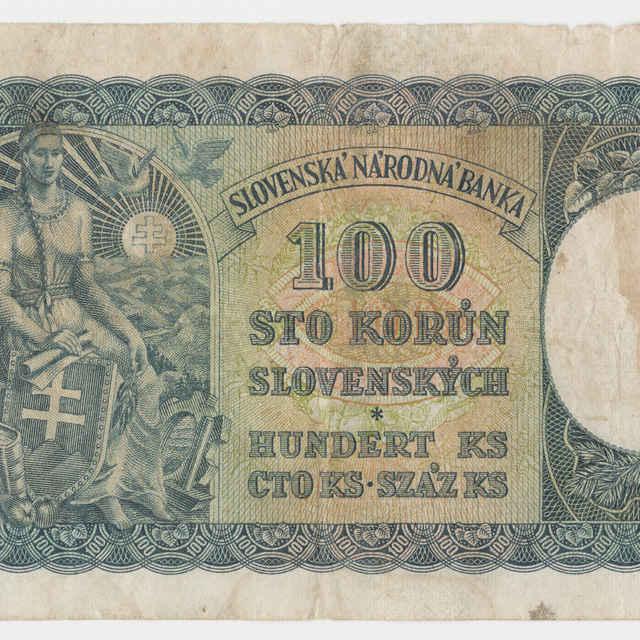 Bankovka Slovenskej republiky 1939-1945 v nominálnej hodnote 100 korún (1940)