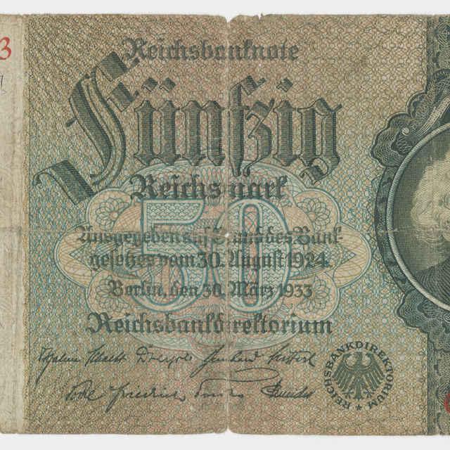 Bankovka ríšska v nominálnej hodnote 50 mariek (1933)