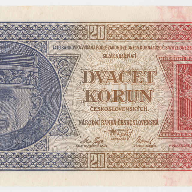 Bankovka československá v nominálnej hodnote 20 korún (1926)