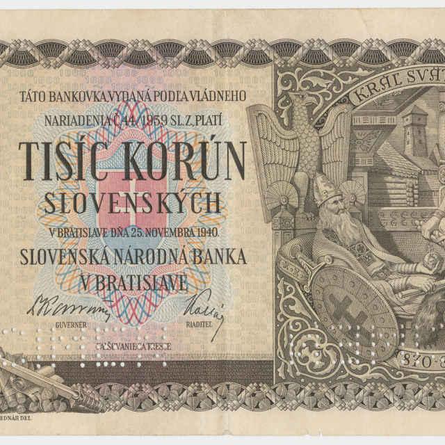 Bankovka Slovenskej republiky 1939-1945 v nominálnej hodnote 1000 korún (1940)