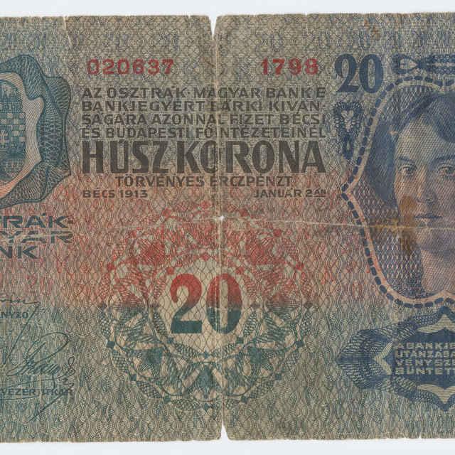 Bankovka rakúsko-uhorská v nominálnej hodnote 20 korún (1913)