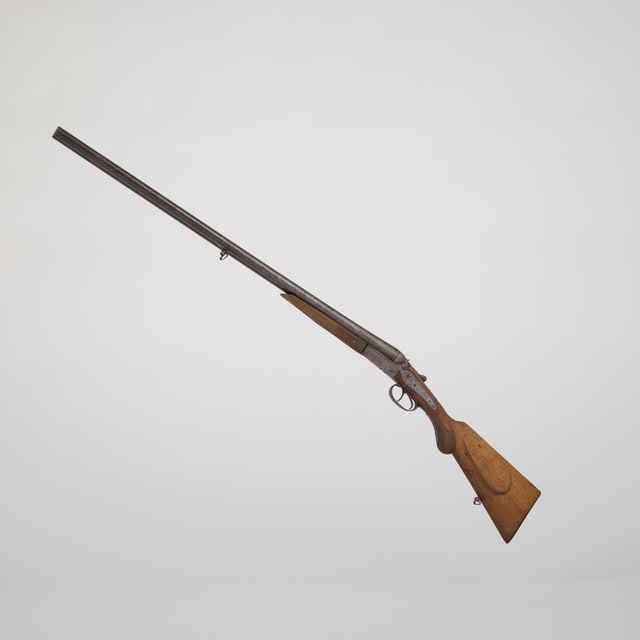Brokovnica - 118cm, kal. 16mm, dvojhlavňová, /GL/, FAND HANQUET...LIEGE..., ľavý kohútik chýba, na doskách pes, zajac