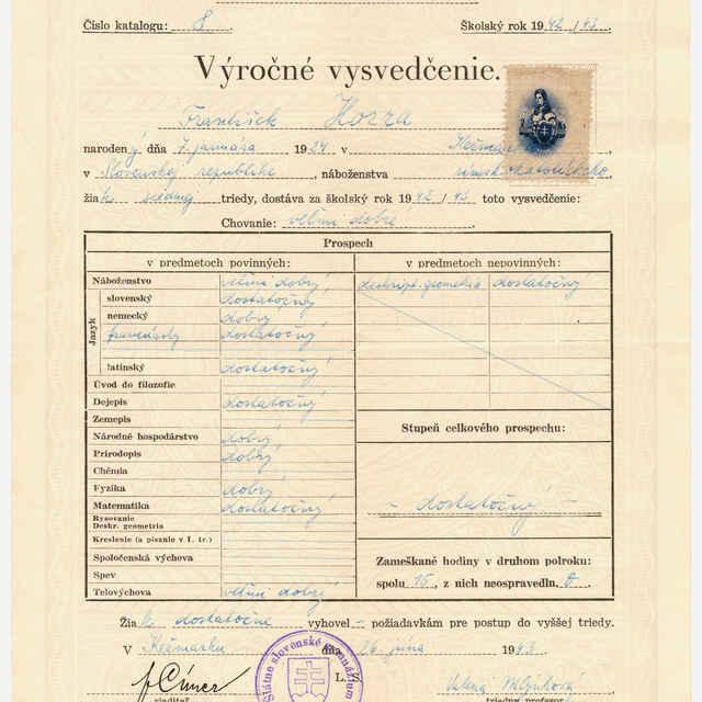 Vysvedčenie Štátneho slovenského gymnázia v Kežmarku z roku 1942/43 (František Hozza)