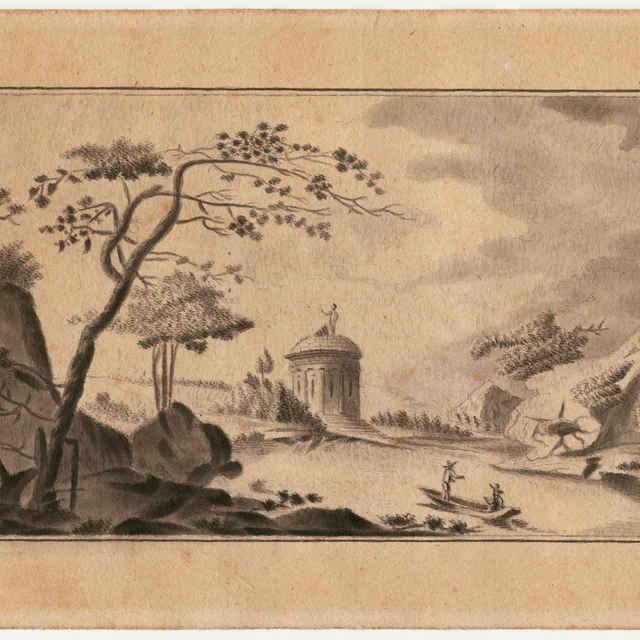 Neznámy autor: Čln na rieke. Papier, lavírovaný tuš, ceruza - neznámy (osobné meno)