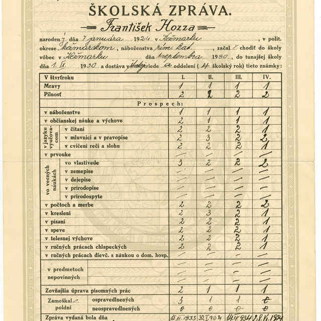 Vysvedčenie - tzv. Školská zpráva Štátnej slovenskej ľudovej školy v Kežmarku z roku 1933/34 (František Hozza)