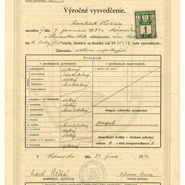 Vysvedčenie Štátneho slovenského reálneho gymnázia v Kežmarku z roku 1938/39 (František Hozza)
