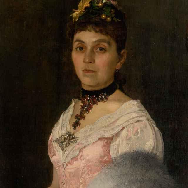Podobizeň dámy s vejárom. Portrét grófky Márie Nyáry Radvánskej - Skutecký, Dominik