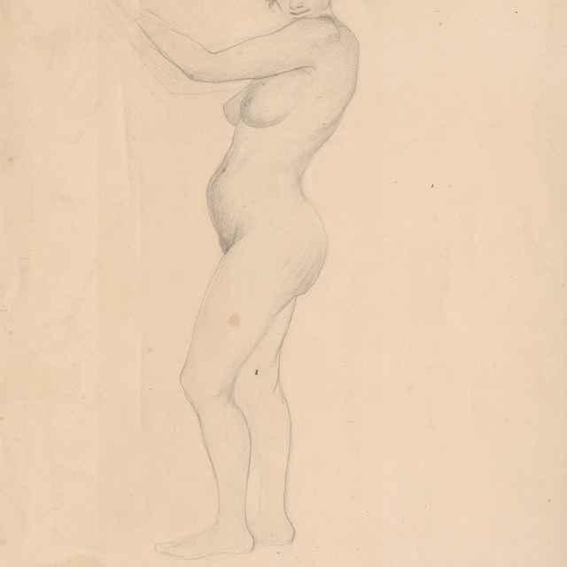 Stojaci ženský akt v profile - Katona, Ferdinand