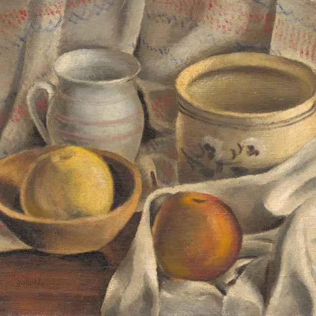 Zátišie s keramickými hrncami a jablkami - Galanda, Mikuláš
