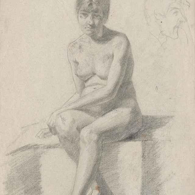 Sediaci ženský akt - Katona, Ferdinand