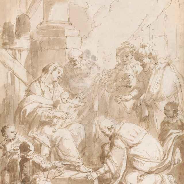 Klaňanie troch kráľov - Ricci, Sebastiano