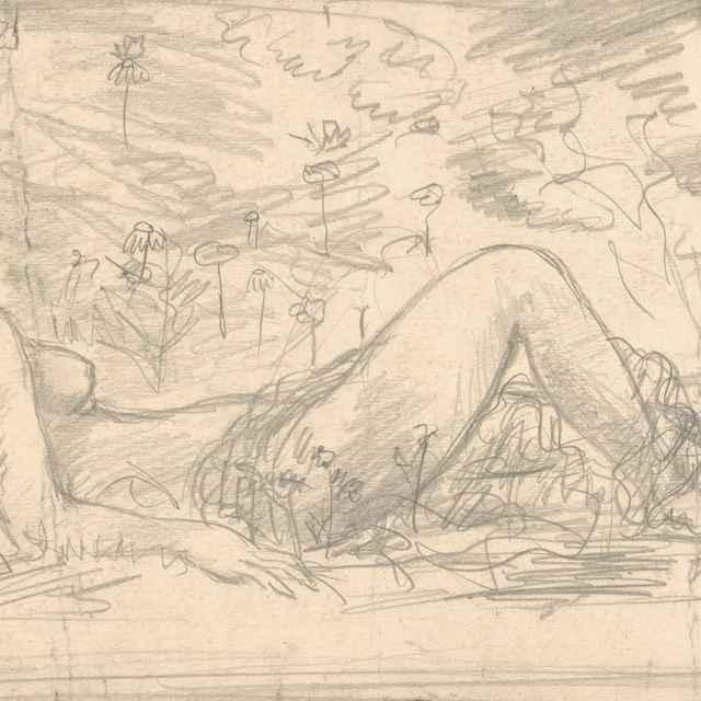 Ženský akt ležiaci v tráve - Weisz-Kubínčan, Arnold Peter
