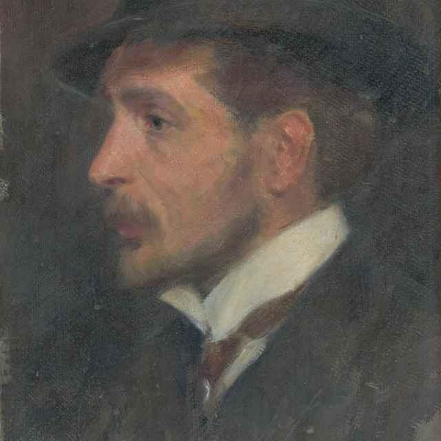 Autoportrét ? z profilu v klobúku - Mitrovský, Milan Thomka