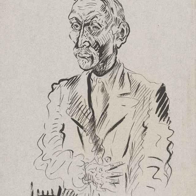 Autoportrét s rukou - Weisz-Kubínčan, Arnold Peter