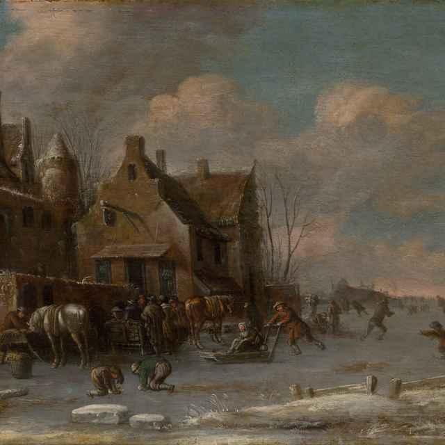 Pred krčmou v zime