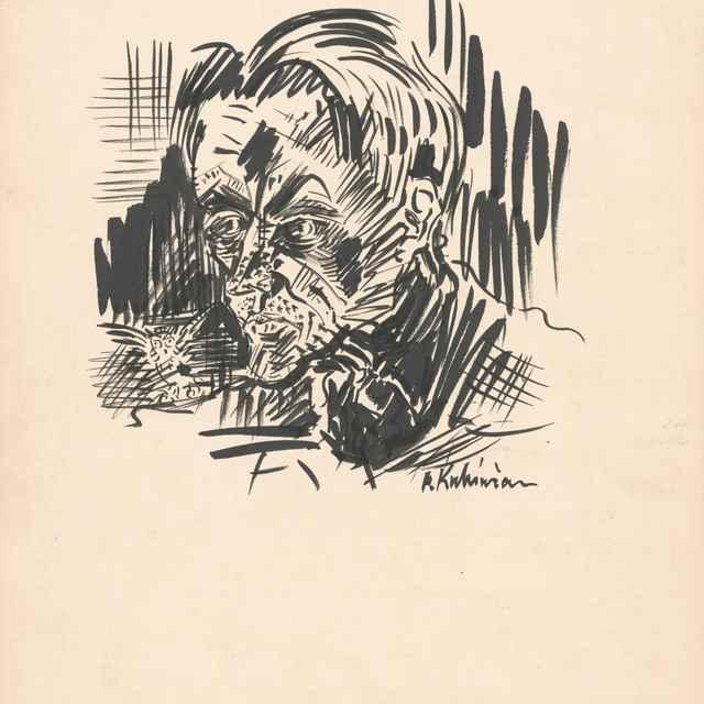 Hlava muža so sovou - Weisz-Kubínčan, Arnold Peter