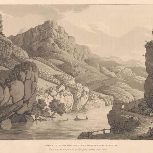 Priesmyk z Chiusa a zdialené hory neďaleko Belluna a Osseniga - Albanis de Beaumont, Jean-François