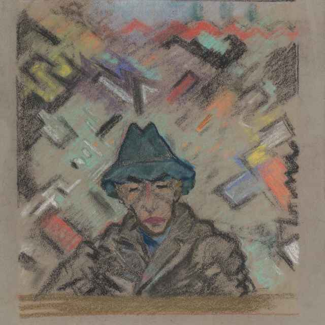 Poprsie muža v klobúku s dekoratívnym pozadím - Weisz-Kubínčan, Arnold Peter