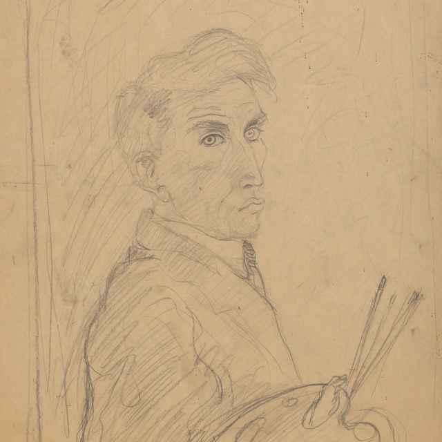 Autoportrét s paletou - Weisz-Kubínčan, Arnold Peter