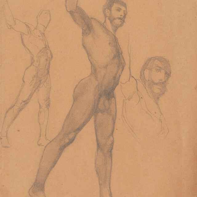 Tri náčrty mužského aktu - Katona, Ferdinand