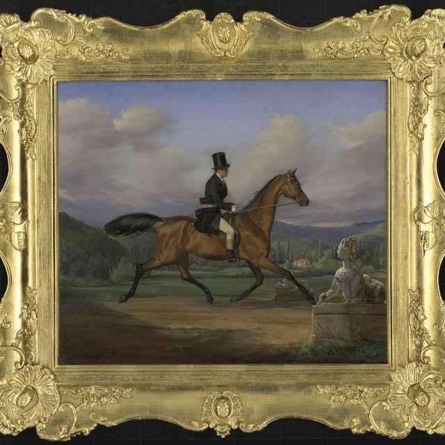 Sterio, Karol. Gróf Aladár Andrássy na koni. Vlachovo, 1847, olej na plátne