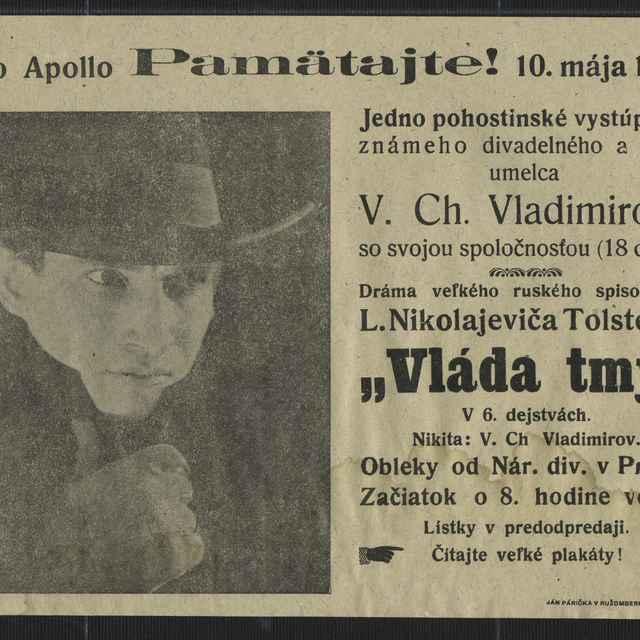 Leták: Divadelné predstavenie - ruské divadlo, 1923