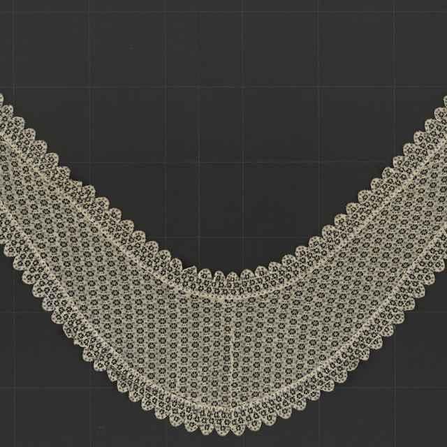Golier čipkový s oceľovými perlami, hodváb
