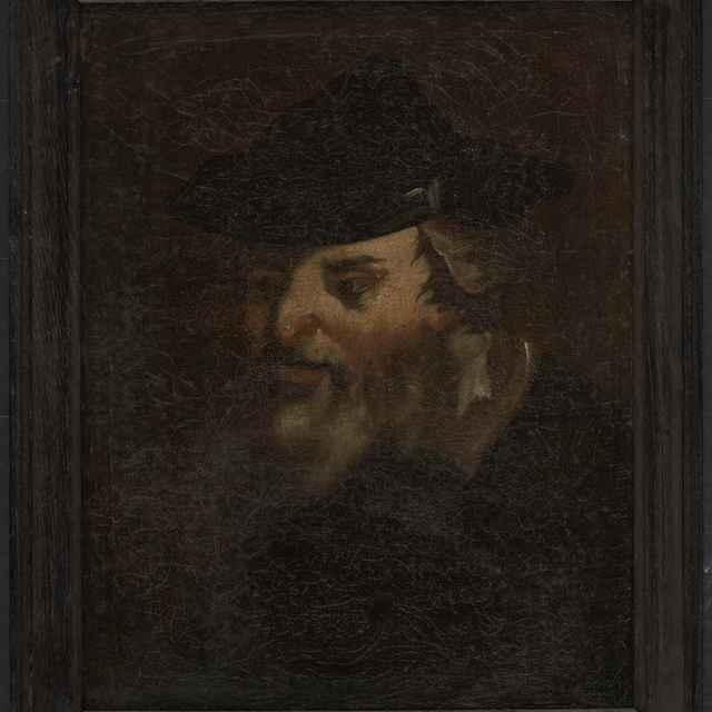 """Obraz, olej na plátne, """"Starec v kožušinou lemovanej čiapke """""""