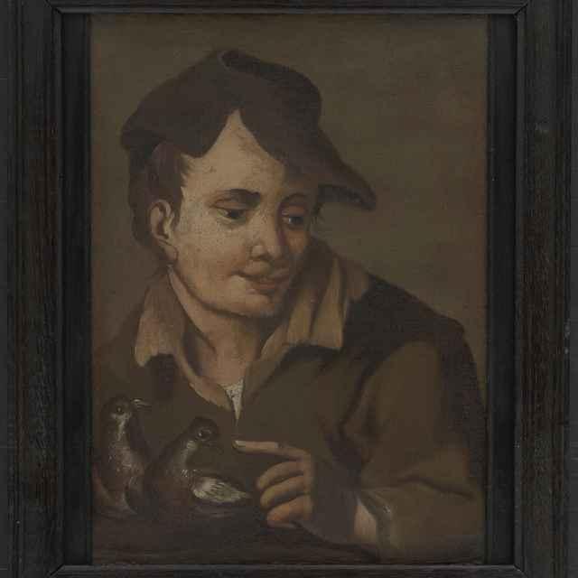 Portrét chlapca s dvoma vtákmi v ruke