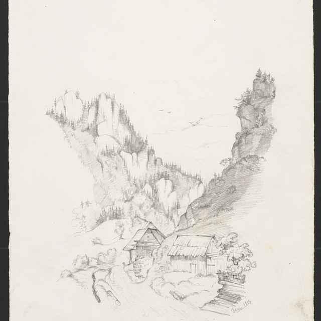 Ceruzokresba, Dionýz Andrássy: Krajinka so skalami a domami, 1854 - Andrássy, Dionýz