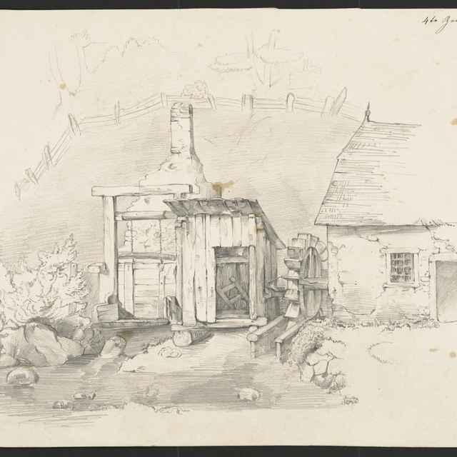 Ceruzokresba, Dionýz Andrássy: Sedliacky dvor s mlynským kolesom - Andrássy, Dionýz
