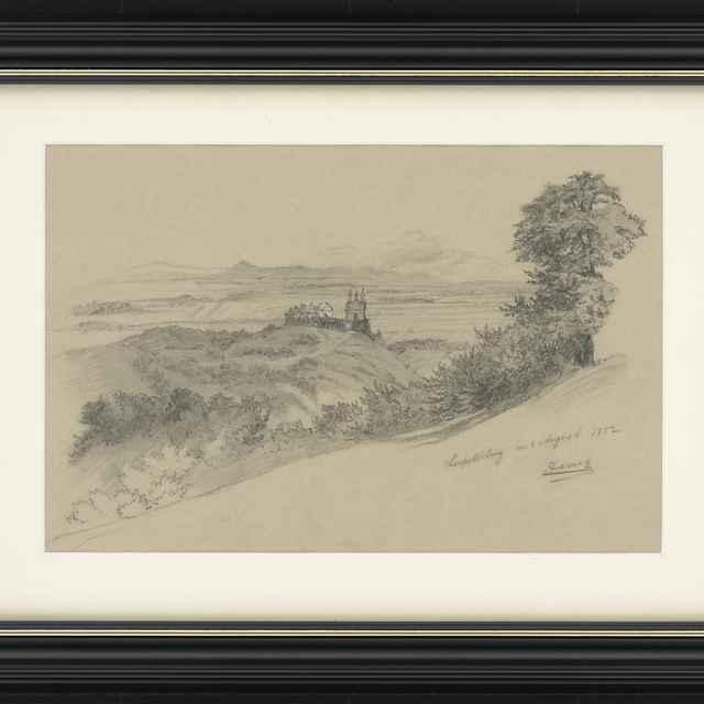 Ceruzokresba, Dionýz Andrássy: Krajinka s kláštorom, 1852 - Andrássy, Dionýz
