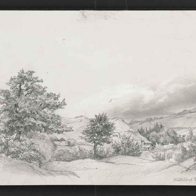 Ceruzokresba, Dionýz Andrássy: Krajinka s domami, 1852 - Andrássy, Dionýz