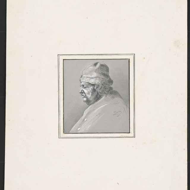 Ceruzokresba, Dionýz Andrássy: Portrét muža v kožušinovej čiapke, 1852 - Andrássy, Dionýz