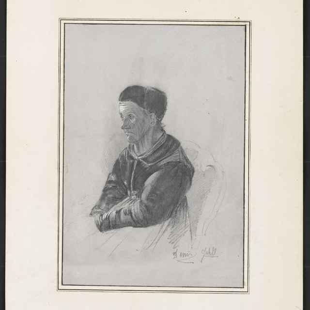 Ceruzokresba, Dionýz Andrássy: Sediaci starec v kožušinovej čiapke - Andrássy, Dionýz