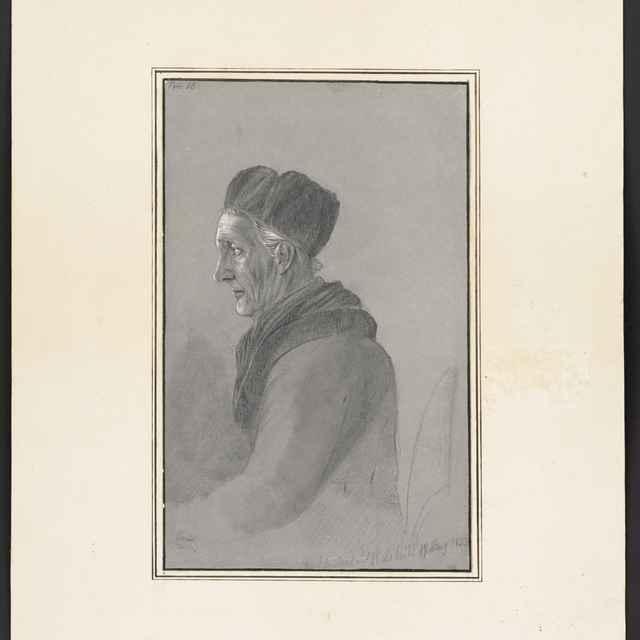 Ceruzokresba, Dionýz Andrássy: Sediaci starec v kožušinovej čiapke, 1853 - Andrássy, Dionýz