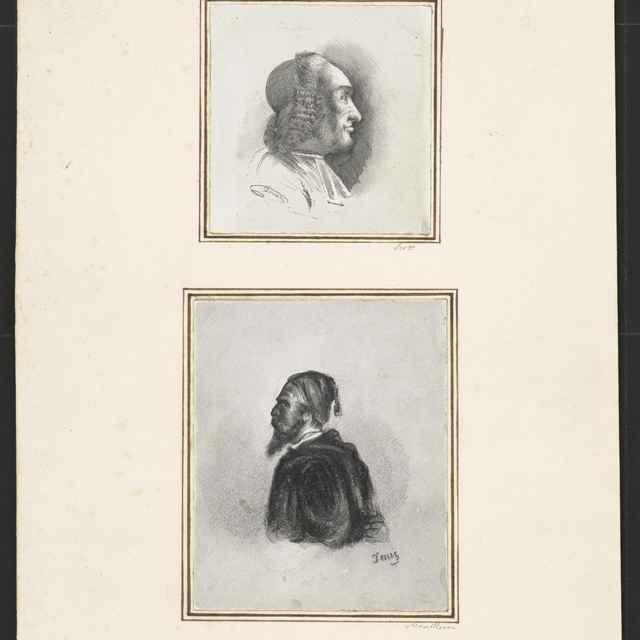 Ceruzokresba, Dionýz Andrássy: Dva mužské portréty na jednom liste - Andrássy, Dionýz