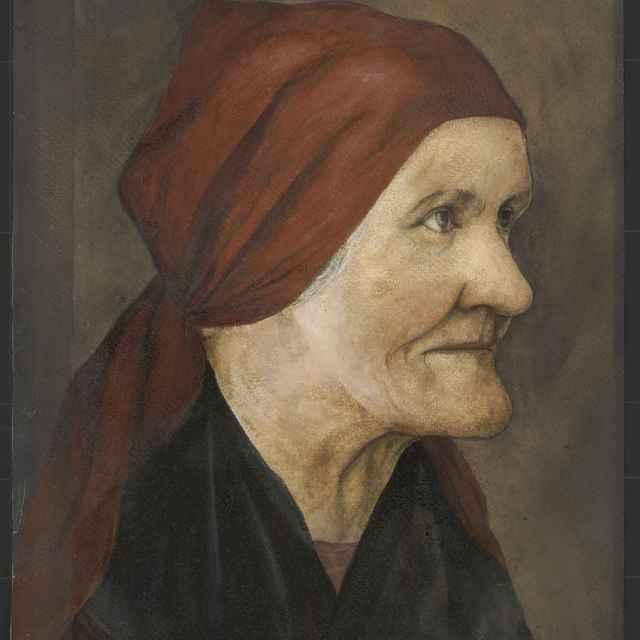 Obraz,olej na papieri, Starenka v červenej šatke - Andrássy, Dionýz