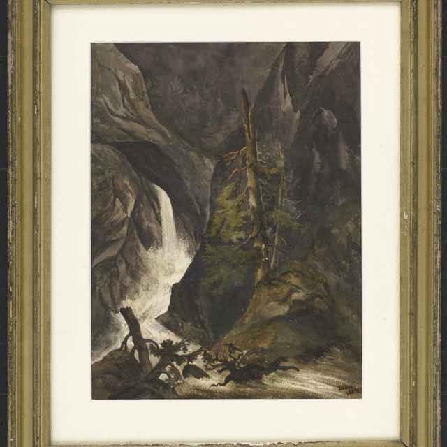 Akvarel, Vodopád Waldbachstrub - Andrássy, Dionýz