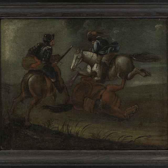 """Obraz, olej na plátne, """"Zápas dvoch jazdcov"""""""